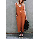 cheap Jewelry Sets-Women's Party / Birthday V Neck Black Orange Wide Leg Jumpsuit, Solid Colored M L XL Sleeveless / Sexy