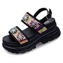 ieftine Sandale de Damă-Pentru femei PU Vară Pantof cu Berete Sandale Creepers Paiete Alb / Negru