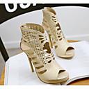 baratos Sandálias Femininas-Mulheres Sapatos Couro Ecológico Verão Conforto Sandálias Salto Agulha Dourado / Branco / Preto