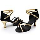 baratos Sapatos de Dança Latina-Mulheres Sapatos de Dança Latina Cetim / Couro Envernizado Sandália / Salto Recortes Salto Cubano Personalizável Sapatos de Dança Preto