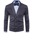 cheap Men's Oxfords-Men's Long Sleeve Cardigan - Solid Colored Shirt Collar