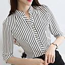 cheap Human Hair Capless Wigs-Women's Business / Basic Shirt - Striped Tassel