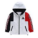 ieftine Seturi Îmbrăcăminte Băieți-Copii Băieți De Bază Geometric / Bloc Culoare Manșon Lung Poliester Blazer Alb 140