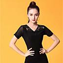 baratos Roupas de Dança de Salão-Dança de Salão Blusas Mulheres Espetáculo Seda Sintética Renda / Franzido Manga Curta Blusa