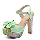 ieftine Sandale de Damă-Pentru femei PU Vară Confortabili Sandale Toc Stilat Negru / Verde / Roz