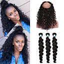 cheap One Pack Hair-4 Bundles With Closure Brazilian Hair Wavy 8A Human Hair Hair Weft with Closure 10-26 inch Human Hair Weaves 360 Frontal Party Classic Women Human Hair Extensions Women's