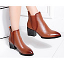 cheap Women's Sandals-Women's Shoes Nappa Leather Fall / Winter Comfort / Bootie Boots Chunky Heel Black / Light Brown