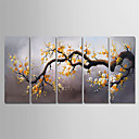 billige Oljemalerier-Hang malte oljemaleri Håndmalte - Blomstret / Botanisk Moderne Inkluder indre ramme / Fem Paneler / Stretched Canvas