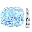 olcso LED szalagfények-KWB 5 m Fényfüzérek 50 LED SMD 0603 1 13Keys távirányító Meleg fehér / Fehér / Kék Új design / USB / Dekoratív USB által 1set