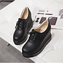 ieftine Sandale de Damă-Pentru femei Pantofi PU Primăvară / Vară Confortabili Oxfords Creepers Vârf Închis Alb / Negru / Bej