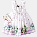 ieftine Costum Baie Fete-Copii Fete De Bază Zilnic Fruct Imprimeu Fără manșon Sub Genunchi Bumbac / Poliester Rochie Alb 100