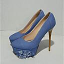 זול מוקסינים לנשים-בגדי ריקוד נשים נעליים ג'ינס אביב נוחות עקבים עקב סטילטו כחול