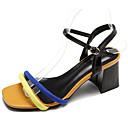 povoljno Ženske tenisice-Žene Cipele PU Ljeto Remen oko gležnja Sandale Kockasta potpetica žuta / Bijela