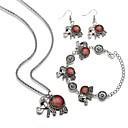 ieftine Colier la Modă-Pentru femei Chainul gros Set bijuterii - Reșină Elefant La modă Include Brățări cu Lanț & Legături / Cercei Picătură / Lănțișor Rosu / Albastru Pentru Carnaval / Mascaradă