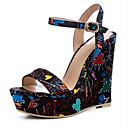 povoljno Ženske sandale-Žene Cipele PU Ljeto Udobne cipele Sandale Wedge Heel Duga