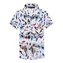 cheap Racks & Holders-Men's Cotton / Linen Shirt - Solid Colored / Geometric / Short Sleeve