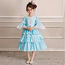 hesapli Fanlar ve Plaj Şemsiyeleri-Prenses Sweet Lolita Rococo Kostüm Genç Kız Çocuklar için Elbiseler Parti Kostümleri Maskeli Balo Kostüm Mavi Eski Tip Cosplay Polyester Yarım Kol Diz Altı