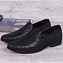 זול נעלי אוקספורד לגברים-בגדי ריקוד גברים מוקסין עור אביב / קיץ נעליים ללא שרוכים שחור / משרד קריירה