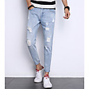 cheap Men's Rings-Men's Jeans Pants - Solid Colored Hole