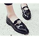 povoljno Ženske cipele s petom-Žene Cipele Mekana koža Proljeće Udobne cipele Natikače i mokasinke Kockasta potpetica Crn