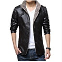 cheap Men's Bracelets-Men's Leather Jacket - Solid Colored Stand / Long Sleeve