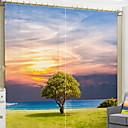 preiswerte Fenstervorhänge-3D Vorhänge Schlafzimmer Geometrisch Polyester Bedruckt / Verdunkelung