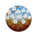 billige Blomster-/botaniske malerier-styledecor® moderne håndmalte abstrakte sirkulære ramme blå og brun bakgulv med hvite blomsterolje klar til hengekunst