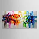 tanie Obrazy olejne-Hang-Malowane obraz olejny Ręcznie malowane - Abstrakcja / Krajobraz Nowoczesny Brezentowy / Zwijane płótno