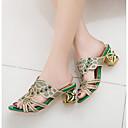 preiswerte Damen Sandalen-Damen Sandalen Blockabsatz Kunststoff Komfort Sommer Grün / Mandelfarben
