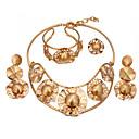 זול סט תכשיטים-בגדי ריקוד נשים שכבות סט תכשיטים - ציפוי זהב 18 קאראט אתני לִכלוֹל צמידים עגילי טיפה שרשראות תליון זהב עבור ארוסים אָהוּב / טבעת