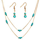 cheap Necklaces-Women's Turquoise Layered Jewelry Set - Drop, Gourd Simple, Fashion, Elegant Include Drop Earrings Pendant Necklace Gold / Silver For Gift Evening Party