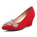 abordables Sombras de Ojos-Mujer Zapatos Ante Primavera Confort Tacones Tacón Cuña Negro / Rojo / Boda / Fiesta y Noche