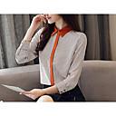 baratos Broches-Mulheres Camisa Social Negócio / Básico Franjas / Patchwork, Listrado