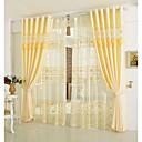 cheap Curtains & Drapes-Curtains Drapes Bedroom Floral 100% Polyester Embroidery