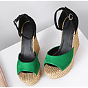 povoljno Ženske oksfordice-Žene Cipele PU Ljeto Udobne cipele Sandale Wedge Heel Crn / Zelen
