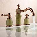 abordables Grifos de Lavabo-Baño grifo del fregadero - Separado / Nuevo diseño Oro Rosa Montaje en encimera Dos asas de tres agujeros