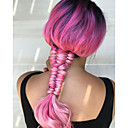 cheap Synthetic Lace Wigs-Synthetic Lace Front Wig Women's Wavy Pink Synthetic Hair Natural Hairline Pink Wig Long Lace Front Pink+Red Uniwigs