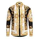 저렴한 프로젝터-남성용 기하학 클래식 카라 셔츠, 빈티지 면 옐로우 L / 긴 소매