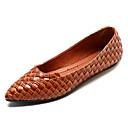 povoljno Ženske ravne cipele-Žene Cipele PU Ljeto Udobne cipele Ravne cipele Ravna potpetica Krakova Toe Crn / Braon