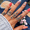 cheap Rings-Women's Vintage Style Hollow Out Open Cuff Ring Ring Set - Alloy Leaf, Flower Vintage, Bohemian Silver For Daily Street / 4pcs