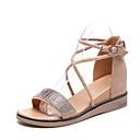 ieftine Sandale de Damă-Pentru femei Pantofi PU Vară Confortabili Sandale Toc Drept Negru / Migdală