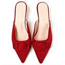 baratos Tamancos & Mules Femininos-Mulheres Sapatos Couro Ecológico Verão Conforto Tamancos e Mules Salto Sabrina Preto / Vermelho / Nú