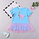 povoljno Haljine za djevojčice-Dijete koje je tek prohodalo Djevojčice Flamingosi Ptica Kratkih rukava Haljina