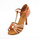 cheap Latin Dancewear-Women's Salsa Shoes Satin Sandal Flared Heel Dance Shoes Brown