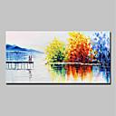 tanie Obrazy olejne-Hang-Malowane obraz olejny Ręcznie malowane - Abstrakcja / Krajobraz Nowoczesny Naciągnięte płótka / Rozciągnięte płótno