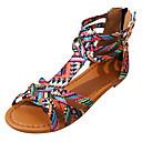 preiswerte Damen Sandalen-Damen Britischen Stil Plaid Schuhe PU Sommer Komfort Sandalen Flacher Absatz Offene Spitze Schnalle Purpur / Rosa