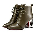 זול עגילים אופנתיים-בגדי ריקוד נשים Fashion Boots עור סתיו מגפיים עקב עבה מגפיים באורך אמצע - חצי שוק חאקי