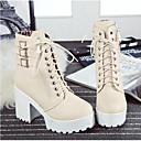 povoljno Ženske čizme-Žene Cipele PU Jesen zima Modne čizme Čizme Kockasta potpetica Zatvorena Toe Čizme do pola lista Crn / Bež / Braon