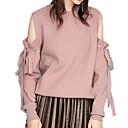 preiswerte Baby Monitore-Damen Ausgehen Solide Langarm Schlank Standard Pullover, Rundhalsausschnitt Weiß / Rosa M / L / XL