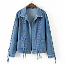 cheap Wallets-Women's Daily Active Short Denim Jacket, Solid Colored Turndown Long Sleeve Polyester Blue S / M / L
